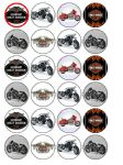 24 x Harley Davidson Edible Wafer Paper Cake Top Toppers Motorbikes